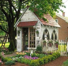Are you looking garden shed plans? I have here few tips and suggestions on how to create the perfect garden shed plans for you. Garden Cottage, Home And Garden, Backyard Cottage, Farmhouse Garden, Garden Homes, Garden Living, Shabby Cottage, Garden Spaces, Small Cottage Garden Ideas