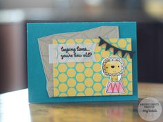 Card by Amy Tsuruta. Reverse Confetti stamp set: Leaping Lions. Confetti Cuts: Leaping Lions and Geometric Background. Birthday card. Circus lion.
