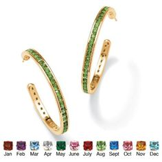 Round Simulated Birthstone 14k Yellow Gold-Plated Channel-Set Hoop Earrings- August- Simulated Peridot Palm Beach Jewelry. $29.95