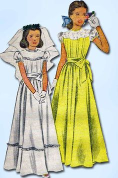 1940s Vintage McCalls Sewing Pattern 6600 Girls Confirmation Dress Size 12 30 B