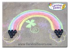 DIY carnival game -- End of the Rainbow!How to Play:  Children stand behind line and take 3 chances to throw pennies into the pots. You can make a few different lines for different age children to make this game more fair to the little ones.