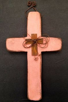 Christian Cross Wall Hanging | Pink Wood & Metal Rustic Distressed Shabby…