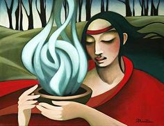 Smudging Ceremony Limited edition print by Nathalie Parenteau. There is a humorous side to Nathalie's art which leads to her whimsical images. Nathalie currently resides in Whitehourse, Yukon. Native American Artists, Native American Indians, Native Americans, Canadian Artists, Claudia Tremblay, Haida Art, Mexica, Dark Thoughts, Indigenous Art