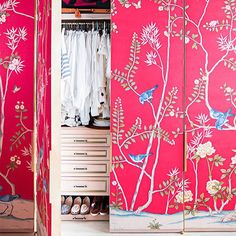 """Dreamy. @degournay silk panels cover the doors of Austyn Zung's closet.@brittanyambridge(Tap link in profile to take the home tour) #dominolovescolor"" Photo taken by @dominomag on Instagram, pinned via the InstaPin iOS App! http://www.instapinapp.com (02/16/2015)"