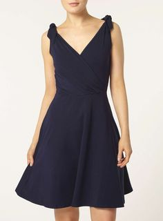 Navy bow strap dress