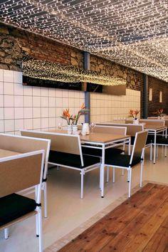 Merchants cafe // pop up cafe bathroom tiles, chipboard and fairy lights Restaurant Lighting, Cafe Restaurant, Restaurant Design, Cafe Shop, Cafe Bar, Cafe Interior, Interior Design, Pop Up Cafe, Lunch Room