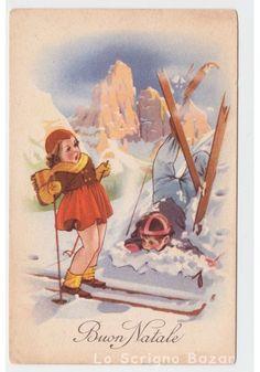 cartolina augurale d'epoca TEL 808 fp Natale bambini neve discesa sci sciatori