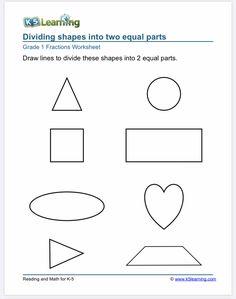 1st grade fraction worksheet Improper Fractions, Fractions Worksheets, Free Math Worksheets, 1st Grade Worksheets, Good Study Habits, Fraction Word Problems, Programming For Kids, Preschool Printables, Grade 1