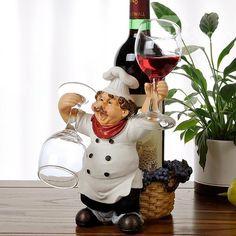 Wonderful Resin Chef Design Wine Stand & Glass Holders on sale, Buy Retail… Wine Bottle Holders, Glass Holders, Wine Bottle Crafts, Fat Chef Kitchen Decor, Wine Stand, Wine Decor, Popsicle Stick Crafts, Gabel, Cold Porcelain