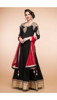 Black Crepe And Silk Anarkali Churidar Suit With Dupatta - 1833