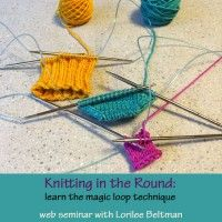 Did you know that nearly all of your in-the-round knitting can be done on one long circular needle? In this web seminar, knitting instructor Lorilee Beltman will show you how. You'll learn the maneuvers it takes to knit with the magic loop meth Magic Loop Knitting, Knitting Help, Knitting Needles, Tunisian Crochet, Knit Crochet, Learn How To Knit, Knit In The Round, Circular Needles, Knitting Patterns