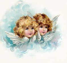 Angel Fabric Block Cherub with Wings Green Pink or Blue Vintage Pictures, Vintage Images, Vintage Illustration, Victorian Angels, Etiquette Vintage, Art Vintage, Vintage Style, Angel Pictures, Angels Among Us