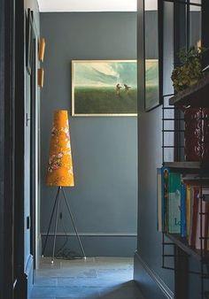 A vintage German lamp zings against Farrow amp; Balls Down Pipe paint. Farrow Ball, Home Interior, Interior Decorating, Interior Ideas, Decorating Ideas, Decor Ideas, Dark Hallway, Architecture Restaurant, Gravity Home