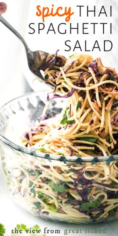 This yummy Spicy Thai Spaghetti Salad is an delicious twist on a potluck classic quick to prepare using common ingredients the Asian flavors in this colorful pasta salad really pop! Asian Pasta Salads, Summer Pasta Salad, Summer Salads, Thai Salads, Side Salad Recipes, Pasta Salad Recipes, Asian Recipes, Summer Pasta Recipes, Spicy Thai
