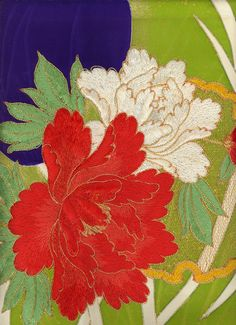 Detail of embroidered silk kimono panel. 1950-1980, Japan. // via Yorke Antique Textiles