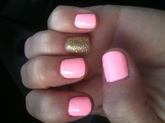 Love my manicure. Pink/Gold