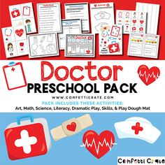 Doctor Preschool Activities Printable for childcare or homeschool includes color and black and white Doctor Theme Preschool, Preschool Colors, Preschool Lesson Plans, Preschool Activities, Preschool Learning, Community Helpers Preschool, Do Homework, Dramatic Play, Kids Education