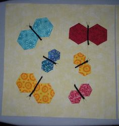 card inspiration from quilting ... hexagon butterflies ... new use for the dies and punches ...