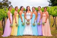 Natalie's bridesmaids looked truly amazing in their Mix N' Match bridesmaid dresses from FHFH!  Bridesmaid dresses they chose: (in barely pink tender yellow, hint of mint, paste blue, pastel lilac and blush) ---> http://www.forherandforhim.com/pleated-bodice-chiffon-dress_1691.html