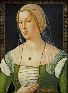 GIROLAMO DI BENVENUTO  Portrait of a Young Woman  c. 1508  Oil on panel, 58 x 43 cm  National Gallery of Art, Washington