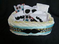 Little Man Mustache Diaper Gift Basket Baby Boy Gift
