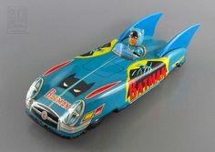 Batman - 1960s Vintage JAPANESE FRICTION-DRIVEN TIN BATMOBILE - tin toy by LUNZERLAND., via Flickr