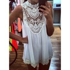 Alluring Hollow Out Design Sleeveless Stand-Up Collar Lace Splicing Dress For Women