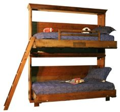 Wilding Bunk Bed features:  • All wood construction.      No Particle Board  • Solid Wood Ladder  • Solid Wood Guard-rail  • Strong Arm system  • Solid wood Moldings  • Multi-step Deluxe hand finishes  • Commercial grade mechanism