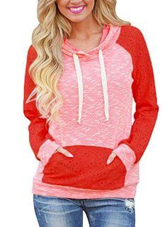 bf05f4c54f6 HOTAPEI Women s Plus Size Cute Long Sleeve Shirt Pullover Hoodie Sweatshirt  With Kangaroo Pocket Pink XXL