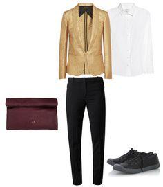 Una reunión importante con un blazer dorado te hará inolvidable.