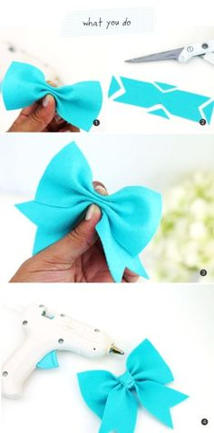 DIY layered felt no sew hair bows for gift ideas tutorial - hair ornaments - LoveItSoMuch.com