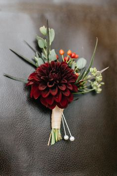 Dahlia pin-on corsage grown and designed by Love 'n Fresh Flowers. Photo by Emily Wren Photography.