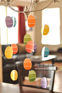 Easter Egg Mobile....using paint chips!