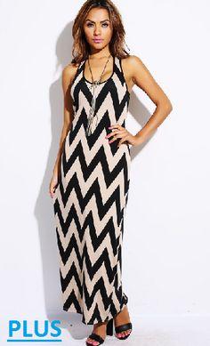 I Love My Mocha Chevron Print Maxi Dress
