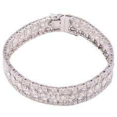 Art Deco Diamond Platinum Link Bracelet | From a unique collection of vintage link bracelets at https://www.1stdibs.com/jewelry/bracelets/link-bracelets/