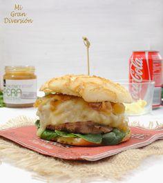 Hamburguesa con bacon y chutney de pera y jengibre