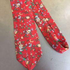 Liberty Of London Necktie Red Floral Cotton Tie Made In USA Fathers Day Wedding…