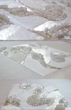 Eternal_ice By Abbeysong. Embellished silk with sequins and Swarovski crystal. Hand embroidery by Abbeysong. Tambour Beading, Tambour Embroidery, Couture Embroidery, Embroidery Fashion, Beaded Embroidery, Embroidery Stitches, Hand Embroidery, Embroidery Designs, White Embroidery
