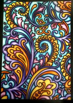 Paisley Designs By Marty Noble Division) Colored Pencil Paisley Art, Paisley Design, Paisley Pattern, Coloring Books, Coloring Pages, Adult Coloring, Art Nouveau, Colouring Techniques, Tribal Tattoos