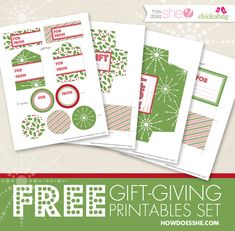 FREE Christmas Gift Giving Tags, Labels, and Envelopes! Love the patterns on these! #printables #howdoesshe