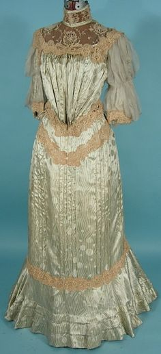 Circa 1905 Light Green Silk Print 2-piece Gown with Chiffon Sleeves.