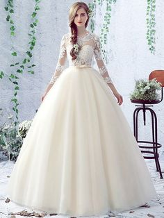Ball Gown Scalloped Neck Tulle Floor-length Appliques Lace 3/4 Sleeve Open Back Wedding Dress