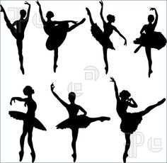 Develope as possible model for use in materials.   Illustration of Set of ballet dancers silhouettes. Vector illustration