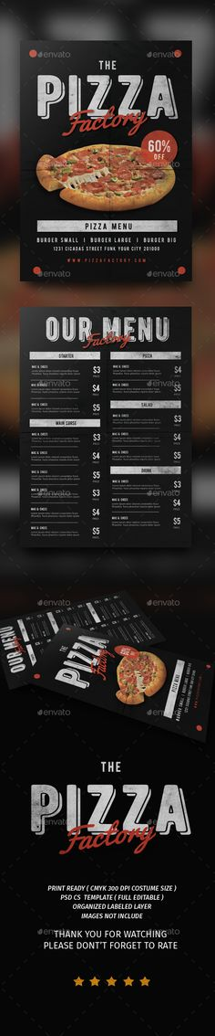Pizza Factory Menu Flyer Template PSD. Download here: https://graphicriver.net/item/pizza-factory-menu/17235020?ref=ksioks