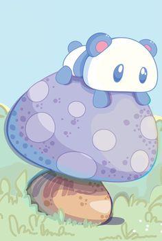 Panda in a mushroom