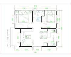 Simple House design with 2 bedrooms Hip Roof - Sam House Plans Small House Floor Plans, My House Plans, Simple House Plans, Craftsman Style House Plans, House Design 3d, Modern Small House Design, Simple House Design, Tiny House Layout, House Layouts