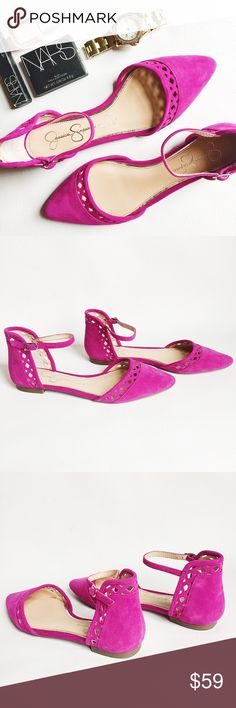 ▪️ SALE ▪️Jessica Simpson Zuka Suede D'orsay Flats Jessica Simpson Zuka Suede D'orsay Flats in fuchsia featuring cut out detail.  Adjustable ankle strap and rubber soles.  NWOT, never worn!  Original box not included.   ▪️SALE! $59 marked down to $50▪️  •  BUNDLE with accessories to SAVE and GET THE LOOK!  • Jessica Simpson Shoes