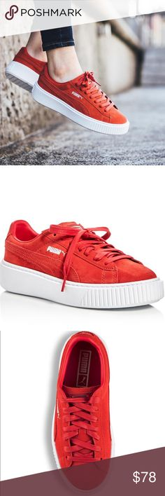 """PUMA  Platform Creepers in Barbados Cherry PUMA The platform sneaker, a must-have of the moment, ups your street cred in monochrome suede with a crisp contrast sole New with out Tags - color is """"Barbados Cherry"""" it's an orange-red Coral color. It's lovely! Suede upper, synthetic and textile lining, rubber sole Imported Fits true to size Round toe; lace up 1.5"""" heel, 1"""" platform , feels like .25"""" heel Puma Shoes Sneakers"""