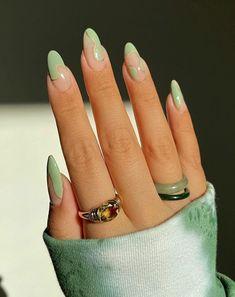 Wonderful Nail Designs and Fresh Look Almond Nails French, Short Almond Nails, Almond Nail Art, French Tip Nails, Almond Nails Designs, Nail Designs, Line Nail Art, Nail Inspo, Stacking Rings