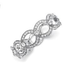 Art Deco stretch bridal bracelet will add stylish fashion to your wedding gown or special occasion dress.
